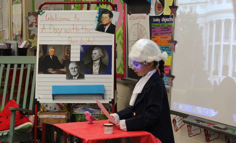 Second Graders Celebrate Early Presidents' Day